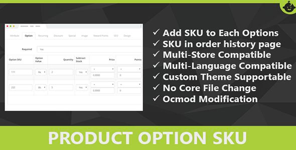 Product Option SKU for Opencart