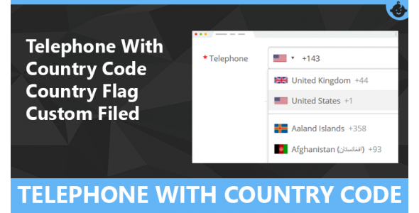 Telephone With Country Code and Flag Custom filed for Openca..